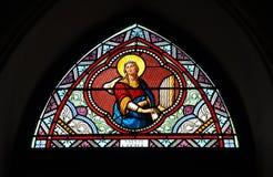 Målat glassfärg Sanktt Cecile Arkivfoto
