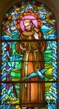 Målat glassfönster av helgonet Joseph Church Arkivfoto