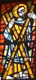 Målat glassfönster av kyrkan av förklaringen Arkivfoto