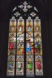 Målat glassfönster, Cologne Arkivfoton