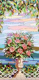 Målat glassfönster - en bukett av rosor i en vas Arkivbilder