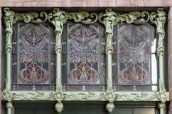 Målat glassfönster i Art Nouveau royaltyfri fotografi