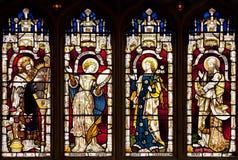 Målat glassfönster i det Wadham högskolakapellet, Oxford, Oxfordshire, Förenade kungariket royaltyfri bild