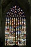 Målat glassfönster i domkyrka för St Rumbolds i Mechelen Fotografering för Bildbyråer