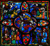 Målat glassfönster i Tours Royaltyfria Bilder