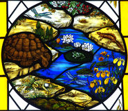 Målat glassfönster med djur och växter. Royaltyfri Foto