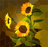 Målat glassfönster med solrosor Royaltyfri Foto