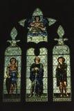 Målat glassfönster på den Malmesbury abbotskloster Arkivfoto
