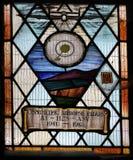 Målat glassfönster som firar minnet av brittisk utveckling av den luftburna radar och H2S i WW2 Fotografering för Bildbyråer