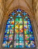 Målat glassfönster som planläggs av den Art Nouveau målaren Alfons Much Fotografering för Bildbyråer
