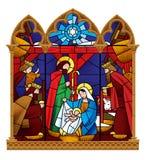 Målat glassfönster som visar julplats i gotisk ram I royaltyfri illustrationer