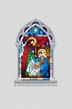 Målat glassfönster som visar julplats i grå gotisk fr stock illustrationer