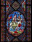 Målat glassfönster som visar Mary, Joseph och, behandla som ett barn Jesus Royaltyfri Foto