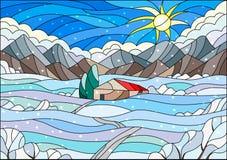 Målat glassillustration med abstrakt vinterlandskap, ett ensamt hus under fält, berg, himmel och fallande snö royaltyfri illustrationer