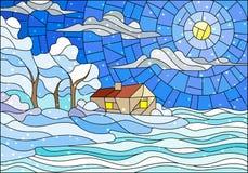 Målat glassillustration med abstrakt vinterlandskap, ett ensamt hus under fält, djupfryst sjö, himmel och fallande snö vektor illustrationer