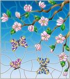 Målat glassillustration med abstrakta körsbärsröda blomningar och fjärilar på en himmelbakgrund Royaltyfri Foto