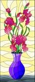 Målat glassillustration med blom- stilleben, bukett av rosa iriers i en blå vas på en gul bakgrund fotografering för bildbyråer