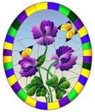 Målat glassillustration med blomman av purpurfärgad växt av släktet Trifolium och fjärilar på en bakgrund för blå himmel i en lju royaltyfria bilder