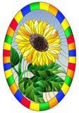 Målat glassillustration med blomman av solrosen på en bakgrund för blå himmel i en ljus ram, oval bild arkivfoton