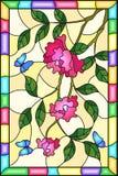 Målat glassillustration med blommor, sidor av rosa färgrosen och blåttfjärilar på den gula bakgrunden i en ram Arkivfoton