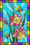 Målat glassillustration med blommor, sidor och knoppar av rosa blommor och fjärilar på en blå bakgrund med den ljusa ramen Arkivbilder