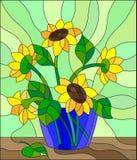 Målat glassillustration med buketter av solrosor i en blå vas på tabellen på grön bakgrund Fotografering för Bildbyråer