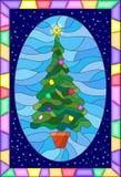 Målat glassillustration med den dekorerade julgranen i en ljus ram royaltyfri illustrationer