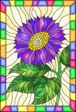Målat glassillustration med den ljusa purpurfärgade blomman, knoppar och sidor på en gul bakgrund i en ram fotografering för bildbyråer