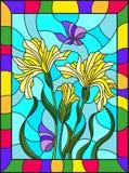Målat glassillustration med en bukett av gul svärdslilja och fjärilar på en blå bakgrund i en ljus ram Royaltyfri Fotografi