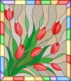 Målat glassillustration med en bukett av röda tulpan på en beige bakgrund i ramen Arkivfoton