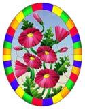Målat glassillustration med en bukett av rosa daisys på en bakgrund för blå himmel i en ljus ram, oval bild royaltyfria bilder
