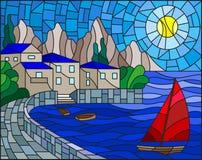 Målat glassillustration med en segelbåt på bakgrunden av fjärden med staden, havet och solen av daghimlen arkivbilder