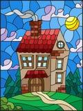 Målat glassillustration med ett ensamt hus på en bakgrund av den gröna skogen och himmel vektor illustrationer