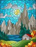 Målat glassillustration med ett ensamt hus på en bakgrund av pinjeskogar, sjöar, berg och dag-solig himmel med moln, a royaltyfri illustrationer