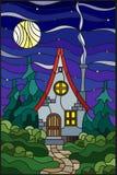 Målat glassillustration med ett ensamt hus på en bakgrund av stjärnklar himmel för grön skog och månen royaltyfri illustrationer