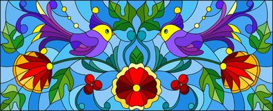Målat glassillustration med ett par av abstrakta purpurfärgade fåglar, blommor och modeller på en blå bakgrund, horisontalbild Royaltyfri Bild