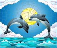 Målat glassillustration med ett par av delfin på bakgrunden av vatten, molnet, himmel och solen Royaltyfri Fotografi