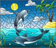 Målat glassillustration med ett par av delfin på bakgrunden av vatten, molnet, himmel, solen och öar med palmträd Arkivbilder