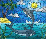 Målat glassillustration med ett par av delfin på bakgrunden av vatten, molnet, himmel, solen och öar med palmträd Arkivbild