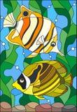 Målat glassillustration med ett par av fiskfjärilen på bakgrunden av vatten och alger Royaltyfri Foto