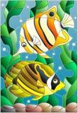 Målat glassillustration med ett par av fiskfjärilen på bakgrunden av vatten och alger Royaltyfri Fotografi