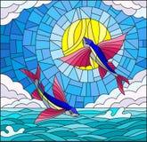 Målat glassillustration med ett par av flygfisken på bakgrunden av vatten, molnet, himmel och solen Arkivfoto