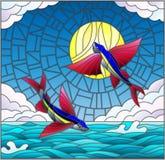 Målat glassillustration med ett par av flygfisken på bakgrunden av vatten, molnet, himmel och solen Arkivbild
