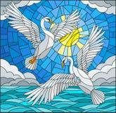 Målat glassillustration med ett par av svanar på bakgrunden av det daghimlen, vattnet och molnen Arkivfoto