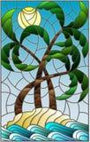 Målat glassillustration med ett tropiskt havslandskap, kokospalmer på den sandiga stranden på bakgrunden av solig himmel royaltyfri illustrationer