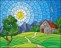 Målat glassillustration med landskap med ett ensamt hus under fält, solen och himmel vektor illustrationer