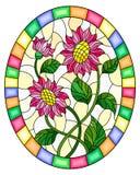 Målat glassillustration med rosa blommor på ayellowbakgrund i en ljus ram, oval bild royaltyfria bilder