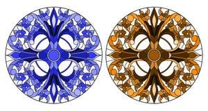 Målat glassillustration med rund blom- blå och brun signal för ordningar, vektor illustrationer