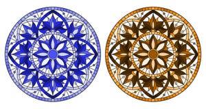 Målat glassillustration med rund blom- blå och brun signal för ordningar, stock illustrationer