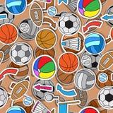 Målat glassillustration på temat av sommarsportar, olika sportbollar, pilar och flaggor stock illustrationer